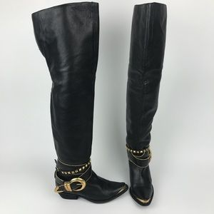 Dolce Vita Parish Thigh High Black Leather Boot